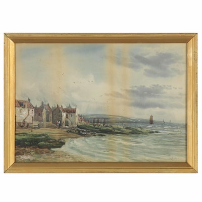 "Watercolor Painting ""The Flowing Tide, Buckhaven,"" Late 19th Century"