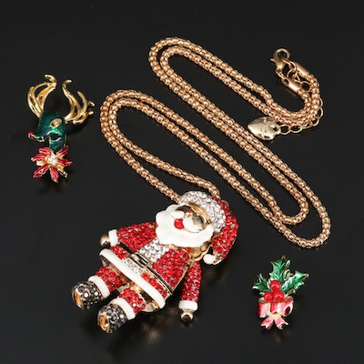 Enamel and Rhinestone Christmas Jewelry
