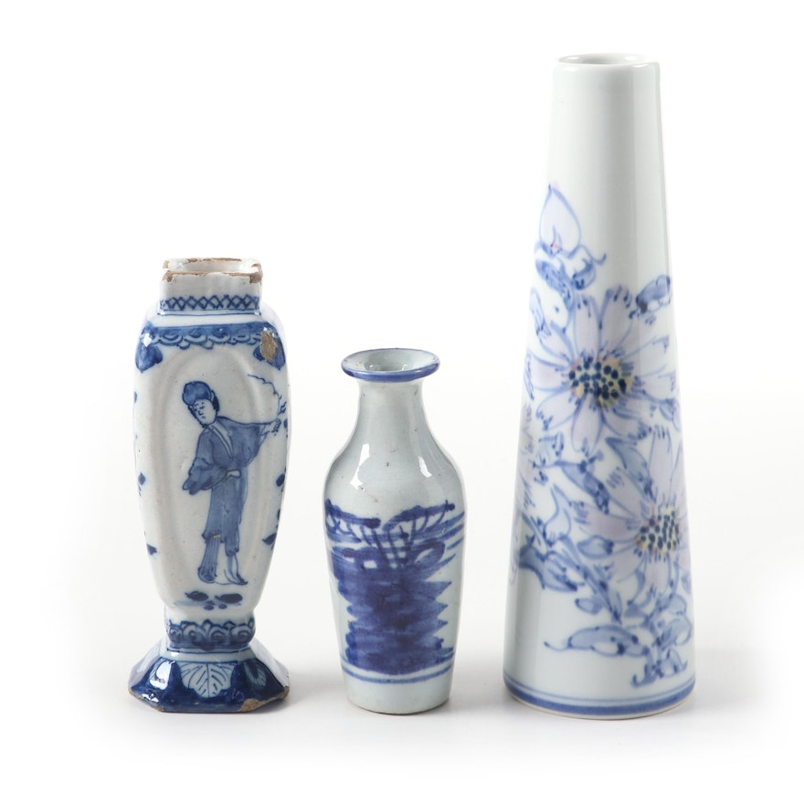 Chinese Blue and White Bud Vases and Japanese Porcelain Floral Vase