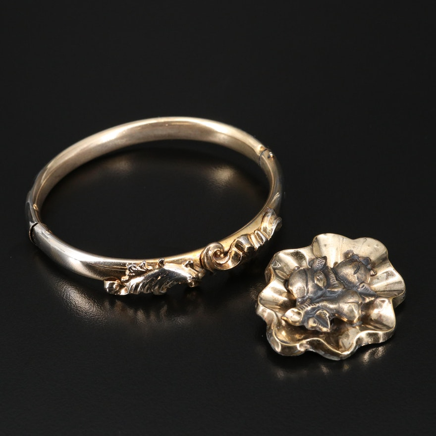 Victorian Brooch and Antique Hinged Bracelet