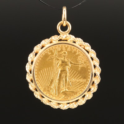 14K Rope Bezel Pendant with 1989 Gold Eagle Bullion Coin