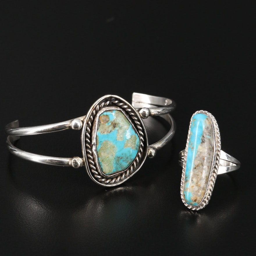Sterling Turquoise Pointer Ring and Cuff