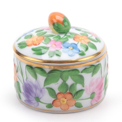 Herend 175th Anniversary Floral Motif Porcelain Box, January 2001