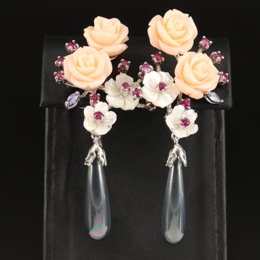 Sterling Tanzanite, Garnet, Mother of Pearl Floral Dangle Earrings