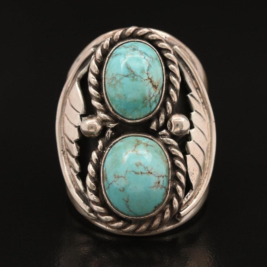 Artisan Signed Southwestern Sterling Turquoise Ring