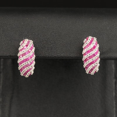 Sterling Silver Ruby and White Sapphire Drop Earrings