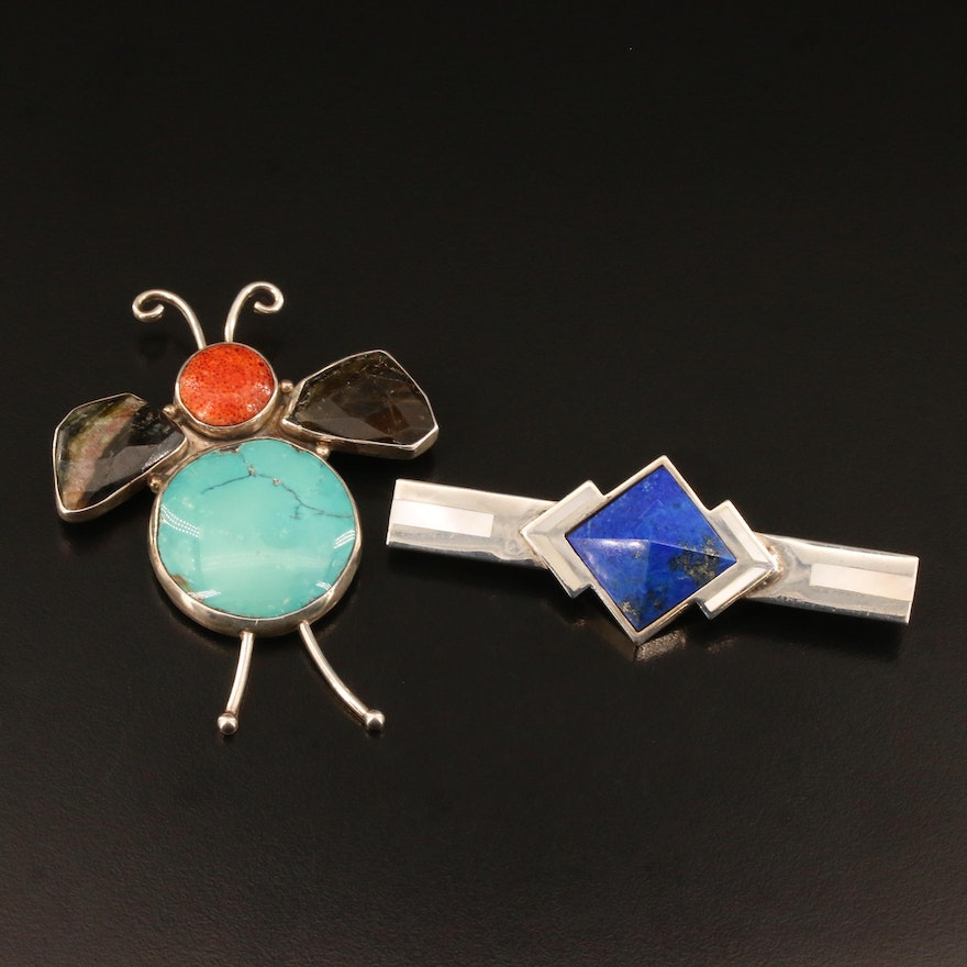 Sterling, Coral, Turquoise Bug and Post Modern Sterling Lapis Lazuli Brooches
