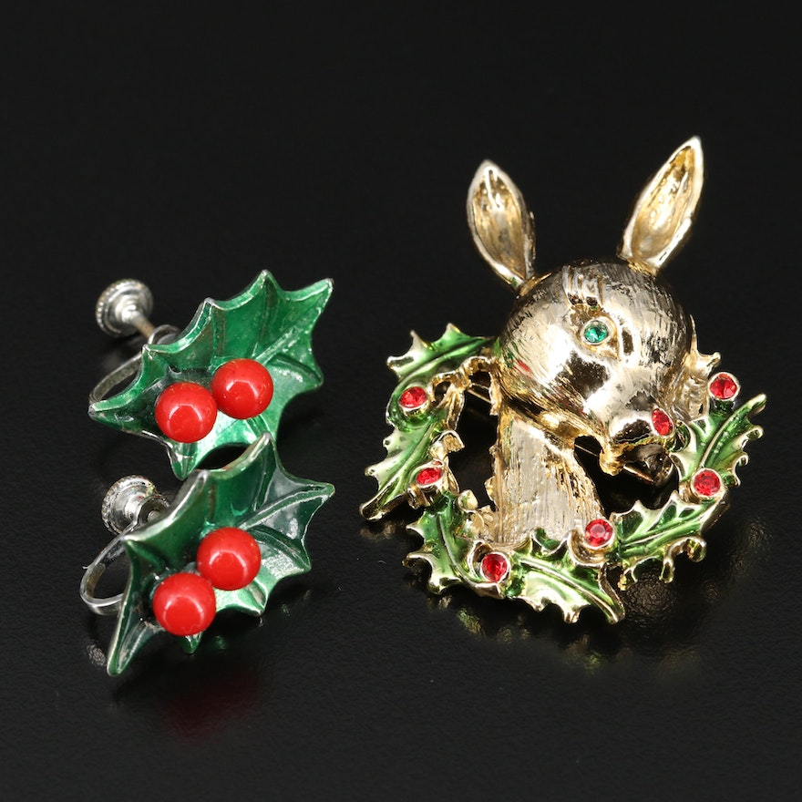 Christmas Jewelry Featuring Holly Earrings and Reindeer Brooch