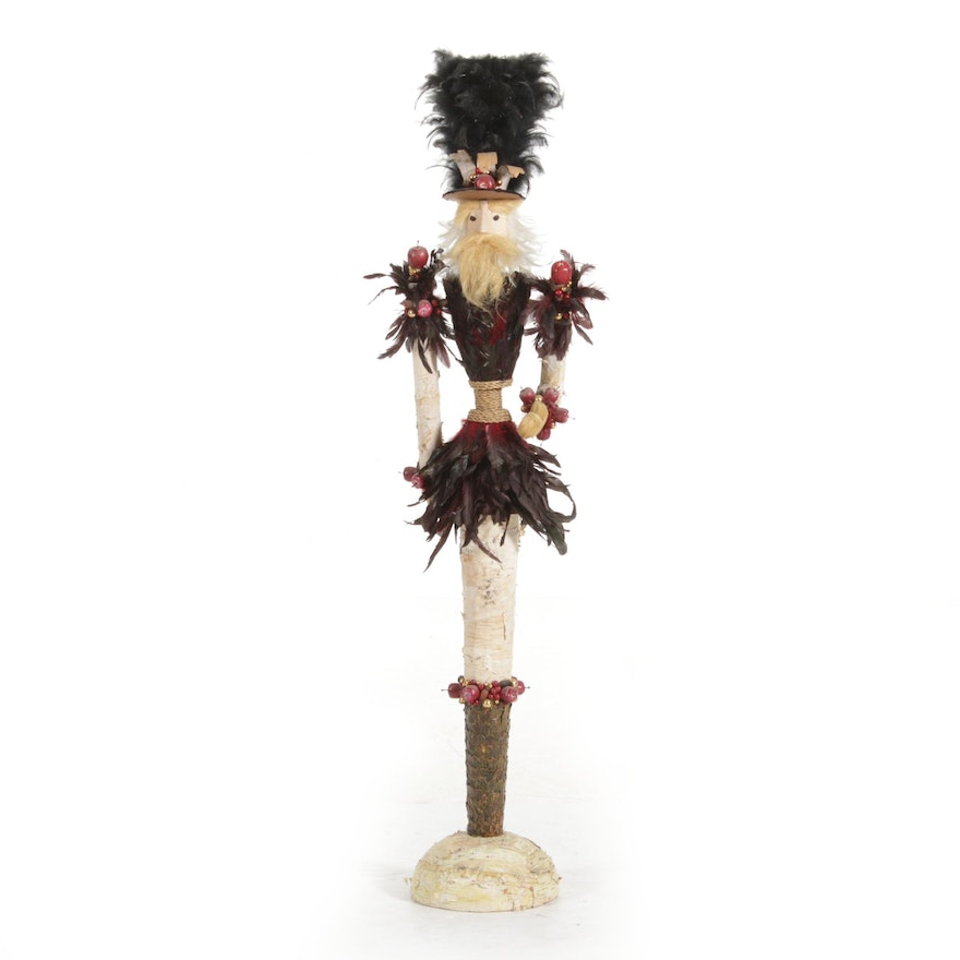 Christmas Tin Soldier with Apples, Chestnut, and Feathers