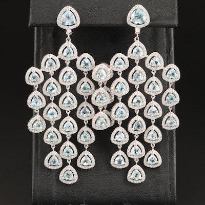 SterlingSilver Topaz and Glass Dangle Earrings