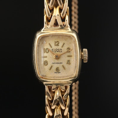 Vintage Eloga 14K Gold Stem Wind Wristwatch