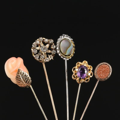 Vintage Gemstone and Rhinestone Stick Pins
