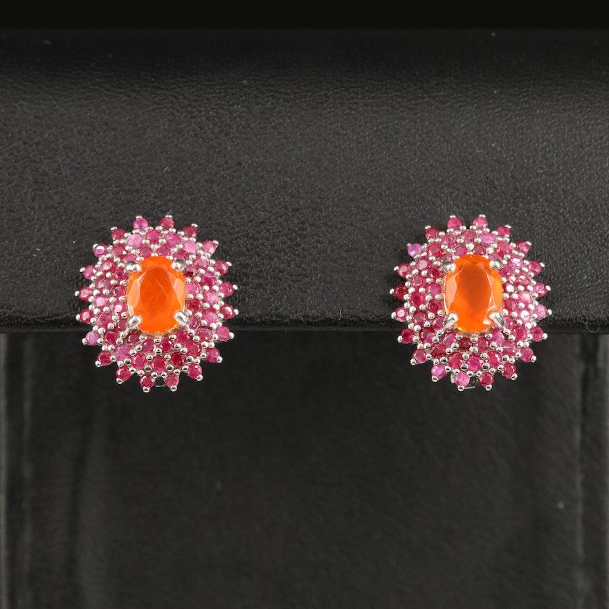 Sterling Fire Opal and Ruby Dangle Earrings