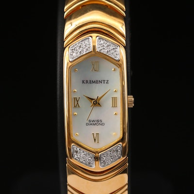 Krementz Mother of Pearl and Diamond Bezel Quartz Wristwatch
