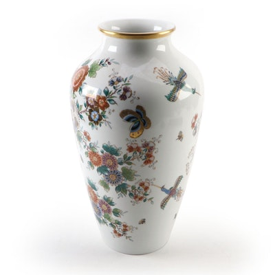 German Hand-Painted Porcelain Vase with Floral Motif, Mid to Late 20th C.