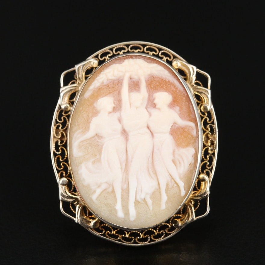 """The Three Graces"" Vintage Sterling Silver Brooch"