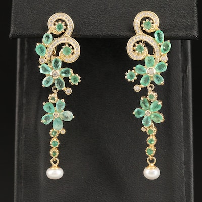 Sterling Silver Emerald, Pearl and Cubic Zirconia Floral Dangle Earrings