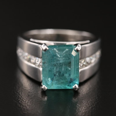 14K 4.25 CT Emerald and Diamond Ring with GIA Report