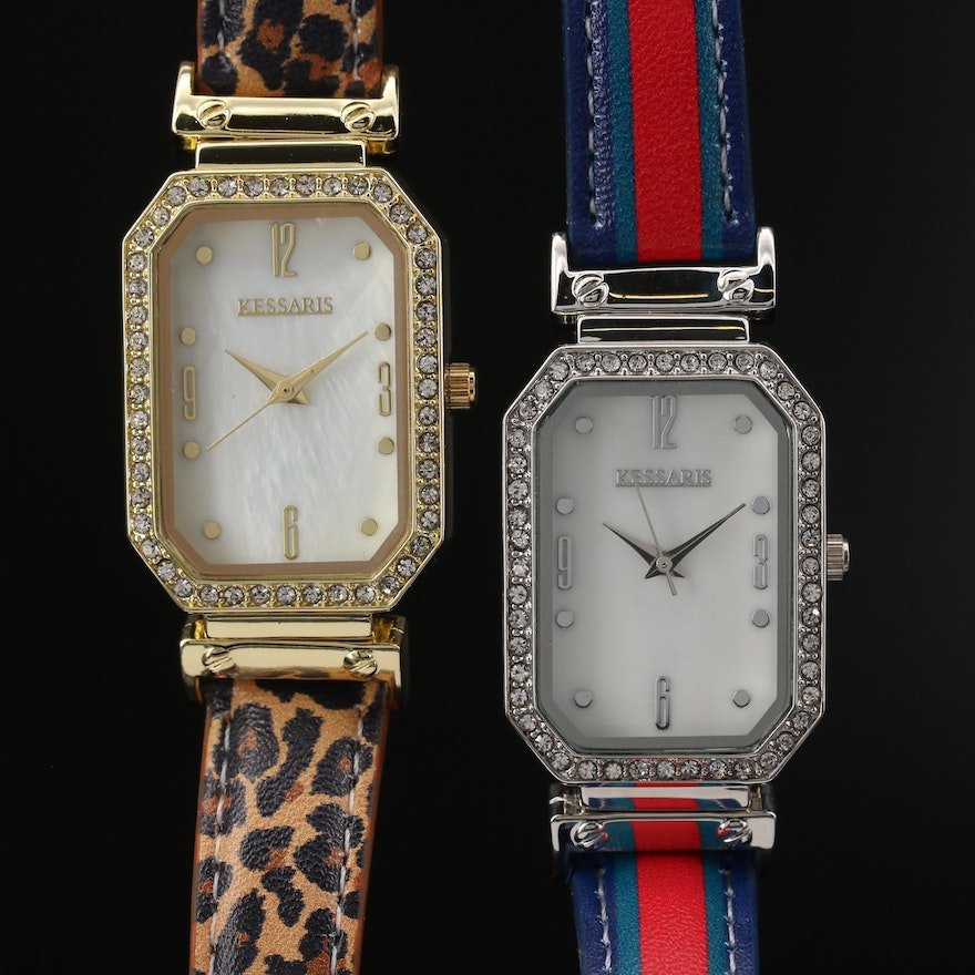 Kessaris Quartz Wristwatches with Mother of Pearl and Crystal Accents