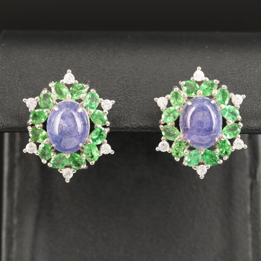 Sterling Silver Tanzanite, Diopside and Cubic Zirconia Oval Cluster Earrings