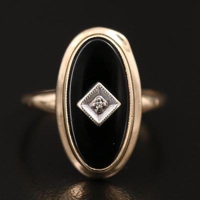 Vintage 10K Black Onyx and Diamond Ring