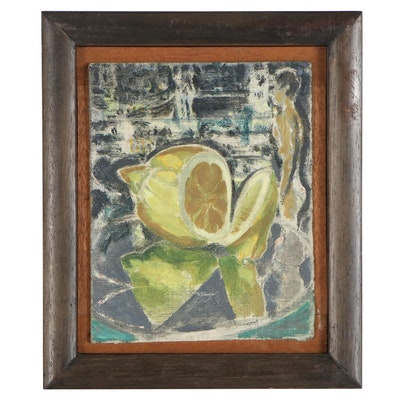 "Jeffrey Camp Oil Painting ""Tower Bridge Lemon,"" 1986"