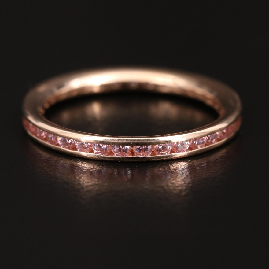 14K Rose Gold Channel Set Cubic Zirconia Eternity Band