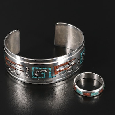 Western Style Sterling, Coral and Turquoise Bracelet and Ring