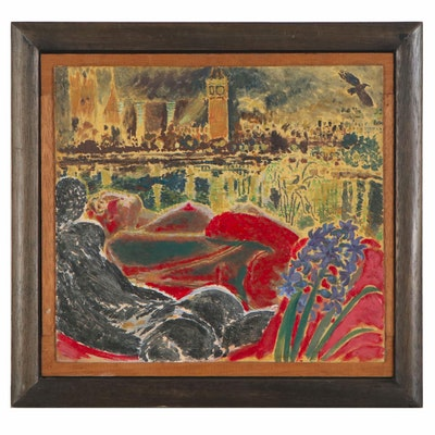 "Jeffrey Camp Oil Painting ""Westminster Hyacinth,"" 1986"