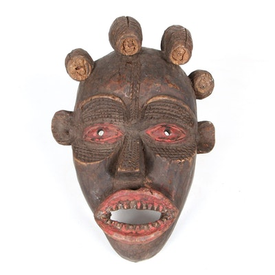 Ekoi Inspired Carved Wood Mask, Africa