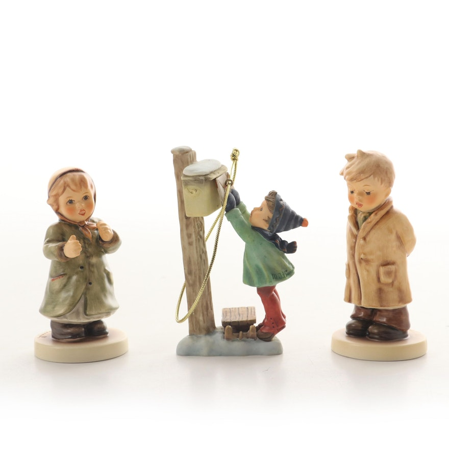 """Goebel """"Keeping Time"""" and """"Too Shy to Sing"""" Hummel Figurines and Ornament"""