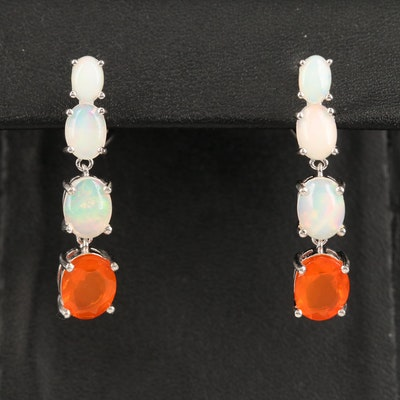 Sterling Silver Opal Dangle Earrings