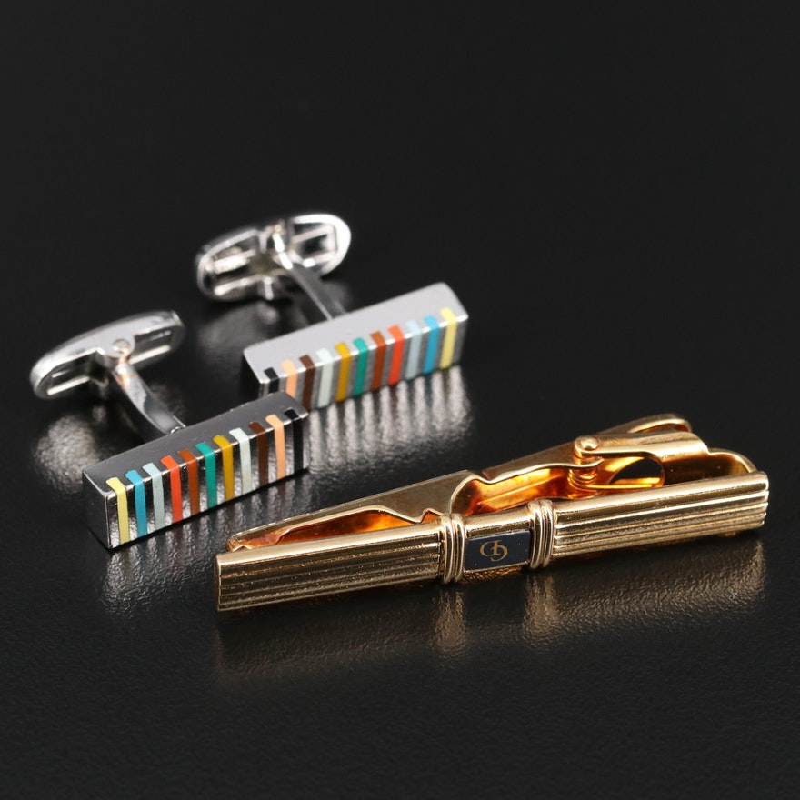 Christian Dior Tie Clip and Paul Smith Cufflinks