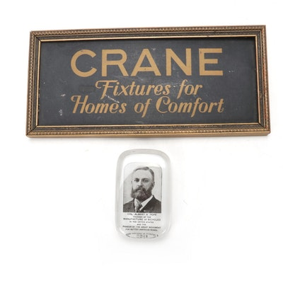 """Col. Albert Pope """"Founder of The Manufacture of Bicycles"""" Paperweight and Sign"""