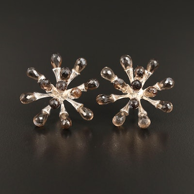 Sterling Silver Smoky Quartz Starburst Earrings