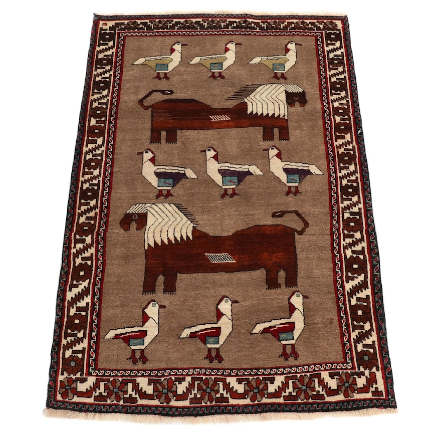 4'7 x 7'1 Hand-Knotted Persian Qashqai Pictorial Wool Rug