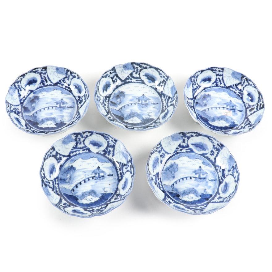 Japanese Blue and White Ceramic Bowls, Antique