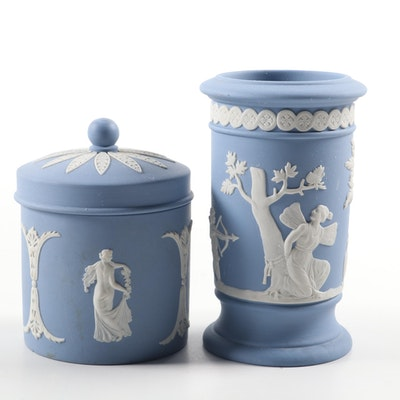 Wedgwood Blue Japerware Vase and Covered Jar