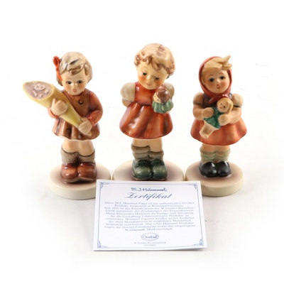 "Goebel ""A Sweet Offering"" and ""Puppet Princess"" with Other Hummel Figurines"
