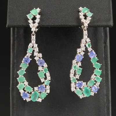 Sterling Teardrop Dangle Earrings with Emerald, Tanzanite and Cubic Zirconia