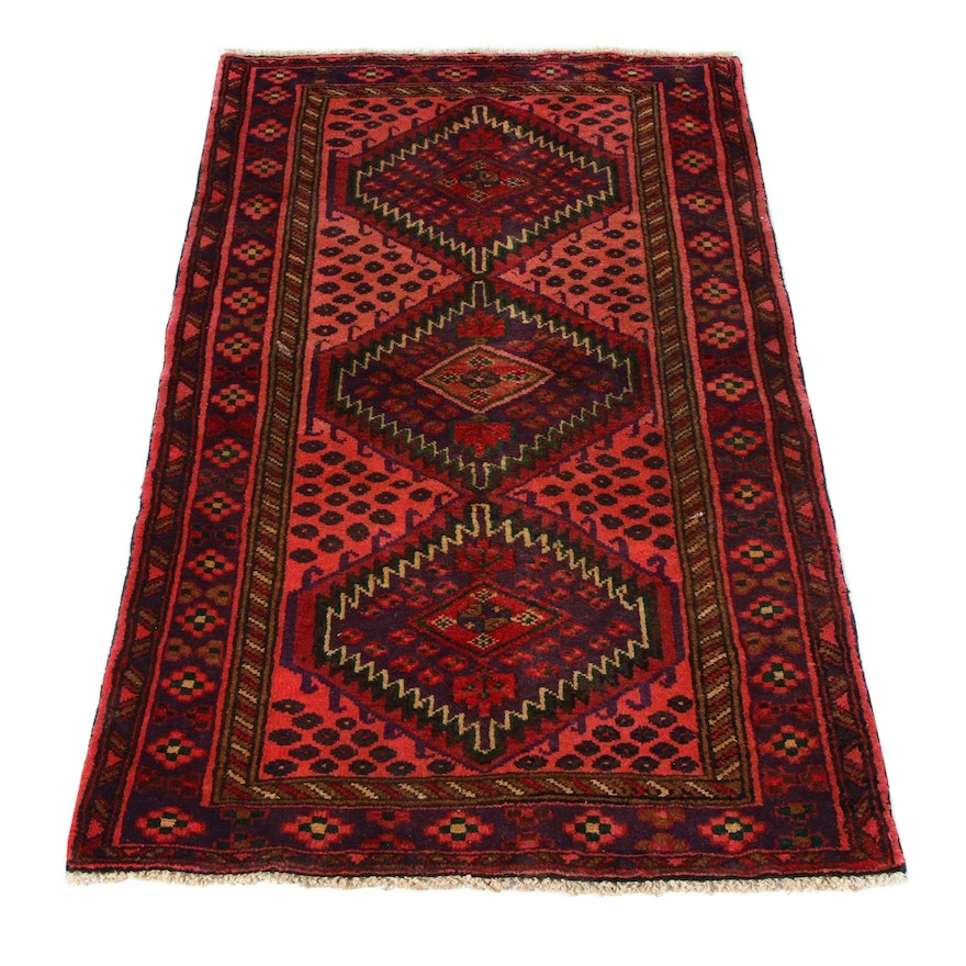 3'2 x 5'2 Hand-Knotted Persian Malayer Rug, 1970s