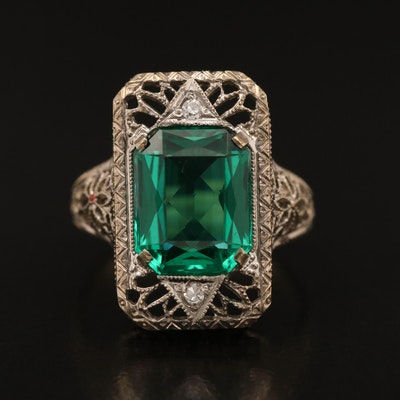 14K Glass and Diamond Filigree Ring