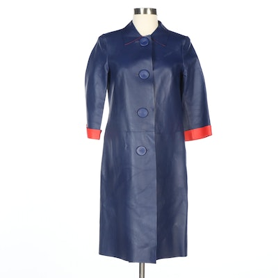 Escada Single Breasted Navy Leather Coat with Red Leather Interior