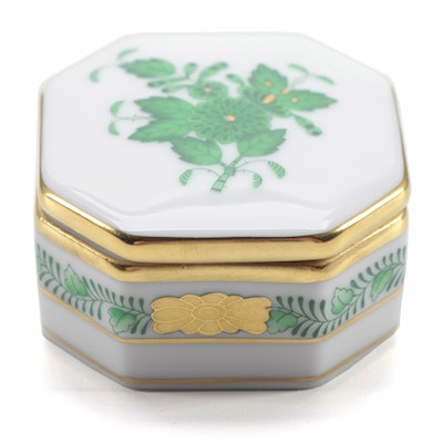 "Herend Green ""Chinese Bouquet"" Porcelain Trinket Box"