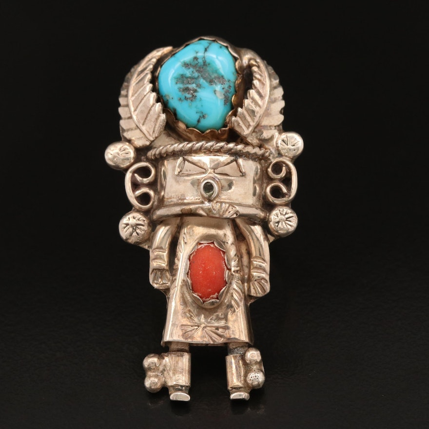Western Sterling Coral and Turquoise Kachina Ring