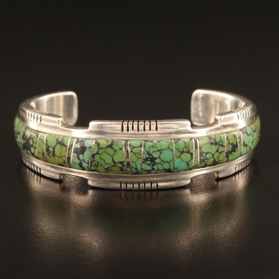 Western Style Sterling Silver Turquoise Inlay Cuff
