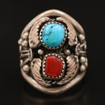 Signed Western Style Sterling Silver Ring with Turquoise and Coral