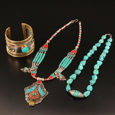 Tibetan Style Sterling Turquoise, Faux Turquoise and Coral Necklace and Cuff
