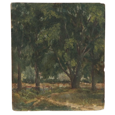 Wooded Landscape Oil Painting, Early 20th Century