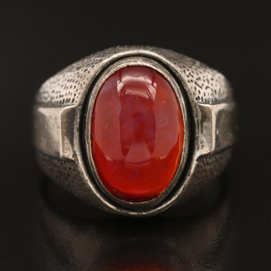 Vintage Sterling Silver Dragon's Breath Glass Ring